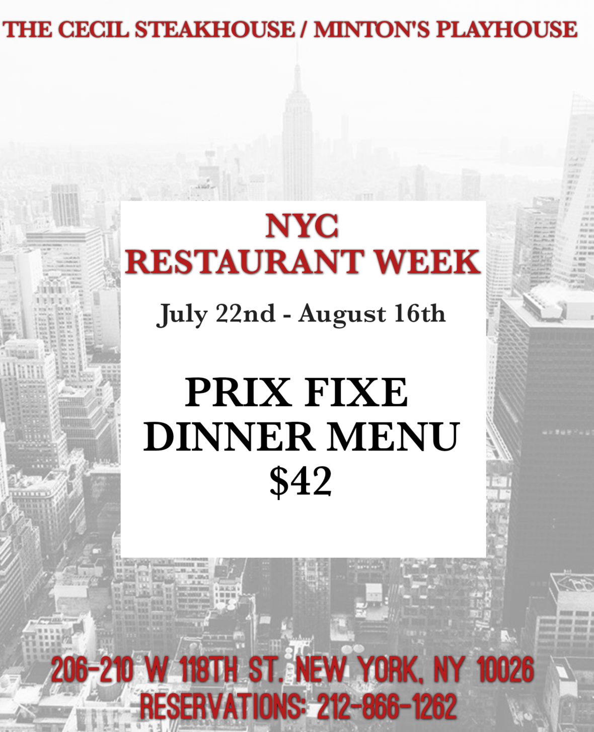 Restaurant Week The Cecil Steakhouse